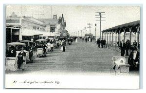 Postcard Rolling Chairs, Atlantic City NJ udb b&w Y65
