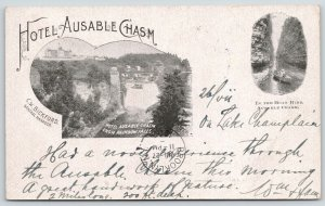 Ausable Chasm New York~Hotel Ausable Chasm Vignettes~CM Bickford Mgr~1903 B&W PC