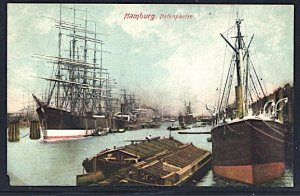 Hamburg Steamers and Sailing Ships in the Harbor 1911 Loss to L/L Corner