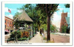 Early 1900s Wallingford, CT, View in the Square Postcard