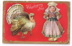 Thanksgiving Turkey Dutch Girl Vintage Gold Embossed Postcard
