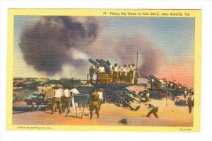 Firing Big Guns at Fort Story, near Norfolk , Virginia, 30-40s
