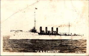 USS Chester US Navy Scout Cruiser 4 stack RPPC real photo early postcard