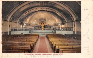 Ogden Utah~Latter Day Saints LDS Mormon Tabernacle~Interior~1905 Postcard