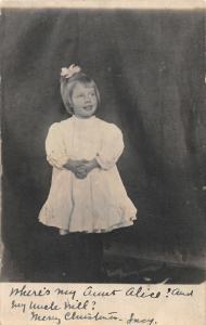 F26/ Weiser Idaho RPPC Postcard 1910 Cute Girl in Dress Christmas