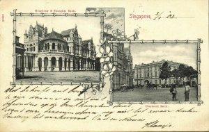 straits, SINGAPORE, Hongkong & Shanghai Bank, Chartered Bank (1903) Postcard (1)