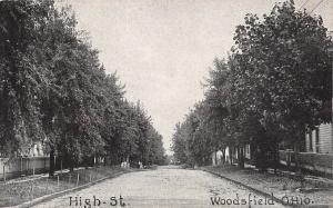Woodsfield Ohio~High Street Homes~Fences Along Sidewalk~1910 B&W Postcard