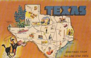 Greetings From Texas The Lone Star State With Map 1966