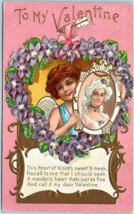 Vintage VALENTINE'S DAY Embossed Postcard The Heart of Violets… 1910 Cancel