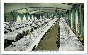 Topeka, Kansas Postcard Roof Garden Dining Room, HOTEL KANSAN Dated 1931