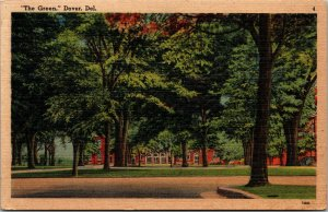 Vtg 1930s The Green Dover Delaware DE Unused Linen Postcard
