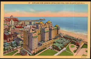 New Jersey ATLANTIC CITY Airplane View showing Hotels and Steel Pier - LINEN