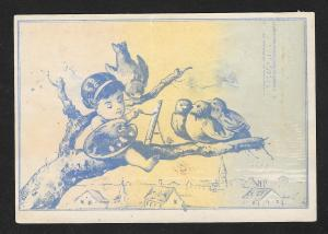 VICTORIAN TRADE CARD Baker Barb Wire Child Painting Birds