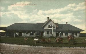 St. Cloud MN GN RR Train Depot Station c1910 Postcard