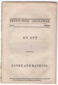 1843 Booklet Titled An Act Relating To Banks and Banking, State of Maine