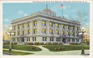 North Dakota Grand Forks Court House and Wolrd War Memorial Clubrooms Curteich