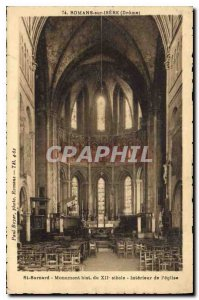 Old Postcard Romans sur Isere Drome Interior of the church