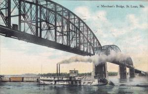 ST. LOUIS, Missouri, PU-1909; Merchant's Bridge, Ship Going Under A Bridge