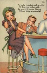 Curt Teich What A Life Sexy Woman at Lunch Counter Linen Postcard C-179