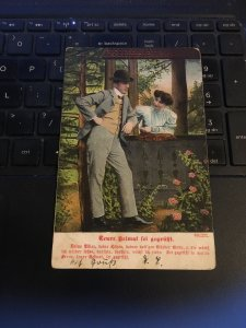 Vintage Postcard -  Man & woman- Great litho, text in German