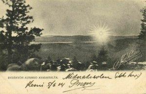 finland suomi, Sydänyön Aurinko Avasaksalta Midnattsolen (1904) Postcard