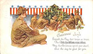 Military Comic Postcard, Old Vintage Antique Post Card Christmas Joy 1919