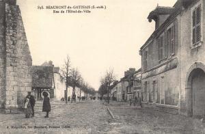 Postcard Vintage BEAUMONT DU GATINAIS Rue de L'Hotel De Ville French Repro