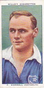 Wills Vintage Cigarette Card Association Footballers No 50 F Worrall Portsmou...