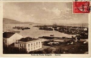 PC CPA AZORES / PORTUGAL, PORTO DE PONTA DELGADA, VINTAGE POSTCARD (b13566)