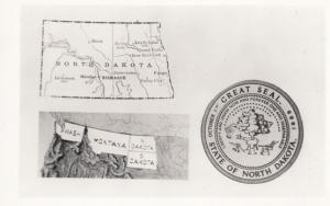 North Dakota Great Seal Geography Map American USA Rare Postcard