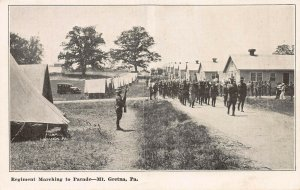 Regiment Marching to Parade, Mt. Gretna, Pennsylvania, Early Postcard, Unused
