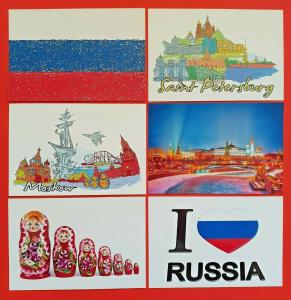 6 NEW Postcards, Moscow, Russia, St Petersburg, Russian Dolls Postcrossing 60Oa