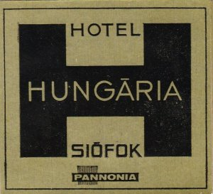 Hungary Siofok Hotel Hungaria Vintage Luggage Label sk3661