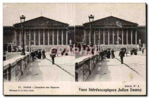 Stereoscopic Card - Paris - Chamber of Deputies - Julien Damoy - Old Postcard