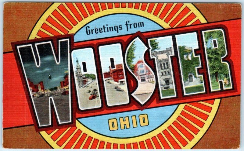 Large Letter Linen  WOOSTER, OHIO  OH  ca 1940s  Kropp Postcard