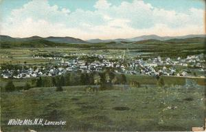 White Mountains New Hampshire~Town of Lancaster Panorama~Homes~Farms~1905 PC