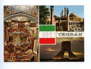 192975 IRAN TEHRAN 3 views FLAG old photo postcard