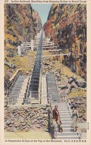 Colorado Incline Railraod Reaching From Hanging Bridge In Royal Gorge
