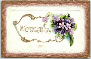 Vintage HAPPY BIRTHDAY Embossed Postcard Bouquet of Purple Flowers - c1910s