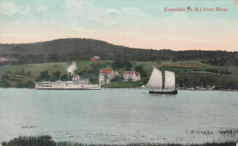 Steamer St John River at Evandale New Brunswick Canada DPO Upper Sheffiield 1910