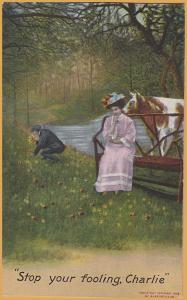 Bamforth-Stop your fooling Charlie Man picking flowers, cow licking girl-1909