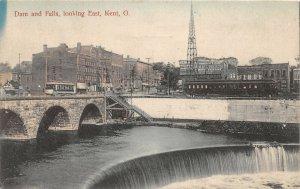 G94/ Kent Ohio Postcard c1910 Dam and Falls Railroad Trolley Stores