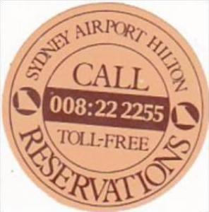 AUSTRALIA SYDNEY AIRPORT HILTON HOTEL VINTAGE LUGGAGE LABEL