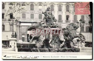 Old Postcard Fontaine Bartholdi Lyon Place Bellecour
