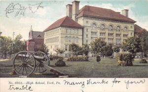 York Pennsylvania~High School~Cannon Diplayed in Yard~c1905 Postcard