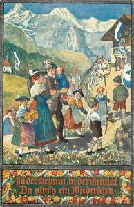 Art Postcard Swiss Soldier Returning Home in the Alps Mar Honegger