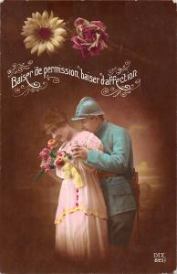 Baiser de permission baiser d'affection daisy rose, lovers, uniform, militaria