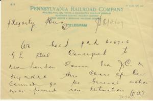 Pennsylvania Railroad Co. Telegram 1907