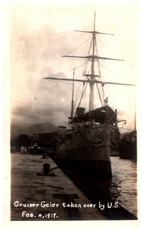 Cruiser Geier taken over by U.S. , Feb 4, 1917
