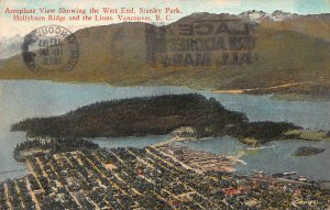 Aeroplane View of Stanley Park, Vancouver, Canada, Early Postcard, Used in 1929